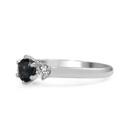 18ct White Gold Art Deco Sapphire and Old Cut Diamond Ring