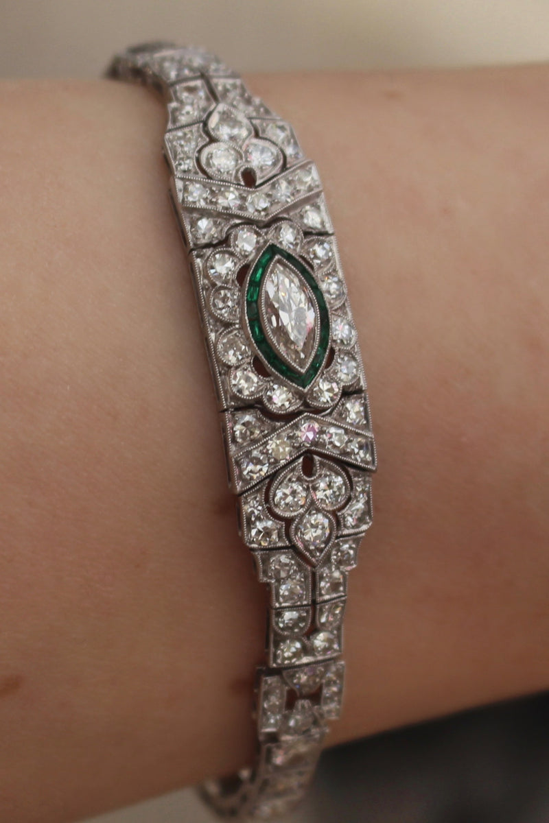 Platinum Art Deco Emerald and Diamond Bracelet