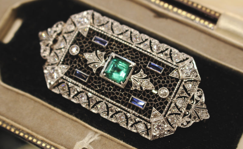 18ct White Gold Antique Emerald, Sapphire and Diamond Brooch