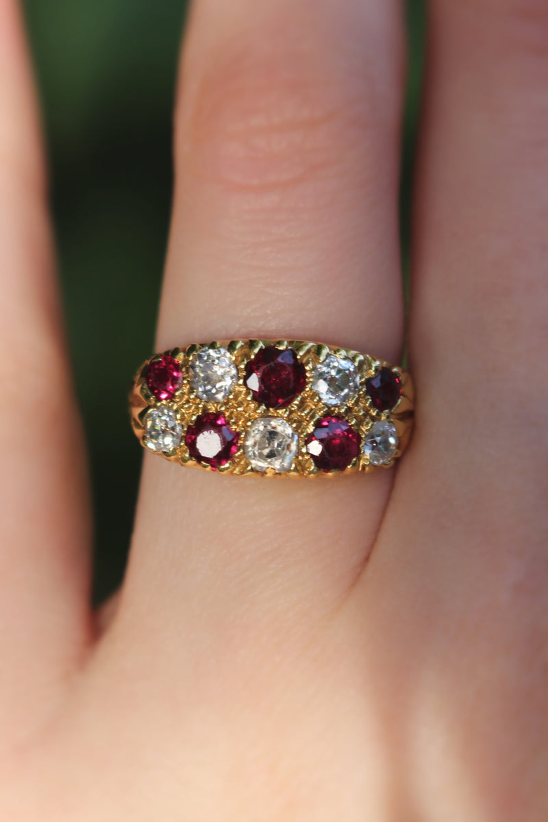 18ct Yellow Gold Antique Ruby and Diamond Ring