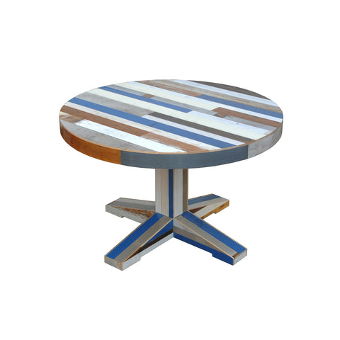 Canteen table in scrapwood round 120 cm
