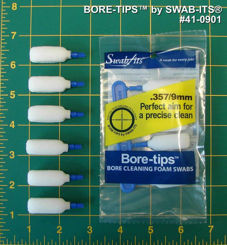 41-0901: .357cal/.38cal/.380cal/9mm Gun Cleaning Bore-tips® by Swab-its®: Barrel Cleaning Swabs