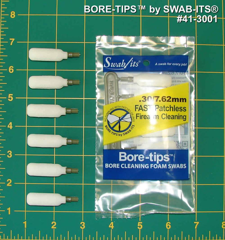 41-3001: .30cal/7.62mm Gun Cleaning Bore-tips® by Swab-its®: Barrel Cleaning Swabs