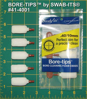 41-4001: .40cal/.44cal/10mm/410 Gauge Gun Cleaning Bore-tips® by Swab-its®: Barrel Cleaning Swabs