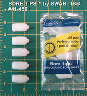 41-4501: .45cal Gun Cleaning Bore-tips® by Swab-its®: Barrel Cleaning Swabs