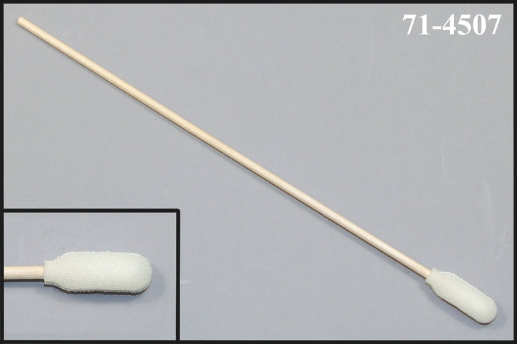 "71-4507: 6"" Overall Length Foam Swab with Narrow Foam Mitt Over Cotton Bud and Birch Wood Handle"