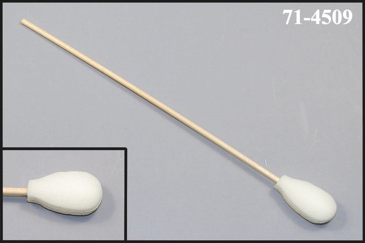 "71-4509: 6"" Overall Length Swab with Teardrop Shaped Mitt Over Cotton Bud and Birch Wood Handle"