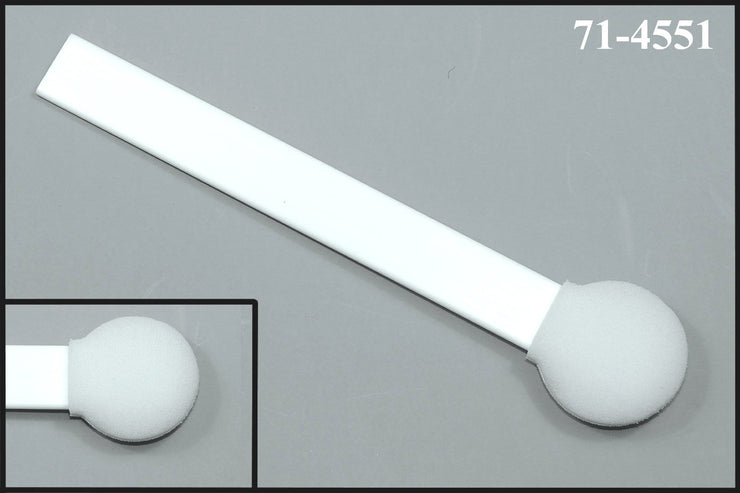 "71-4551: 6"" overall length swab with circular foam mitt on flat on a flat polypropylene handle"