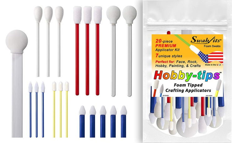 Swab-its® Hobby-Tips™ 20-Piece Premium Applicator Kit Foam Tipped Crafting Applicators - Face, Rock, Hobby, Painting, Crafts