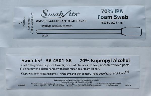 "56-4501-SB-25: 5"" Large Rectangular Head 70% IPA Foil Wrapped Swab by Swab-its®"