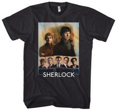 Sherlock Cast Portrait Mens Black T-shirt