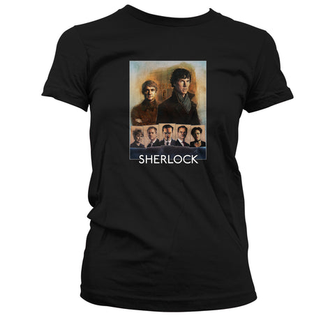 Sherlock Cast Portrait Ladies Black T-shirt