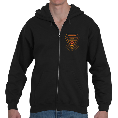 UNIT 5000 Mens Zip-Up Black Hoodie