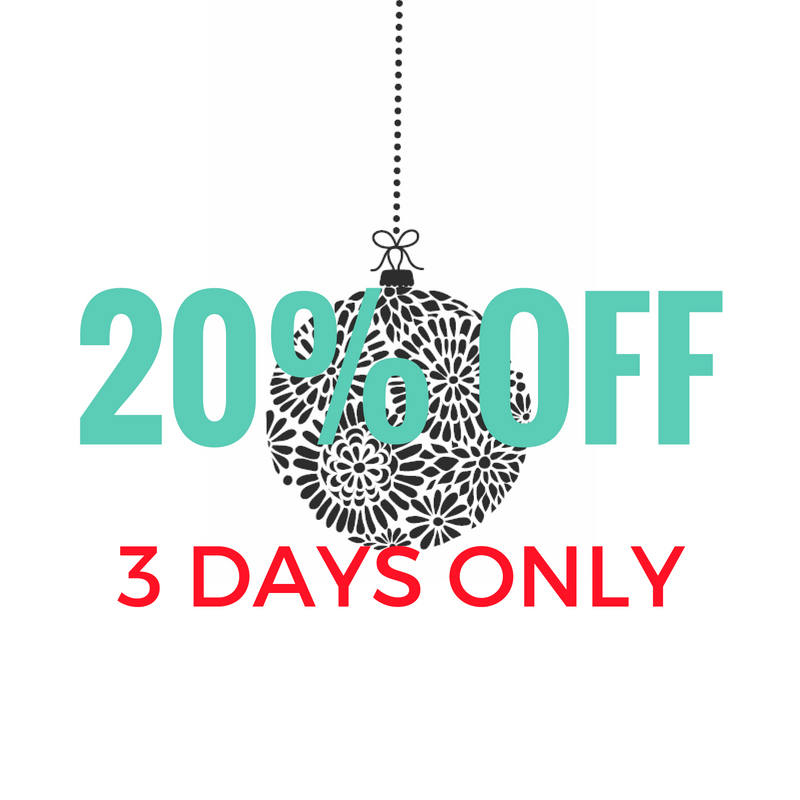 20% off store-wide for 3 days only!