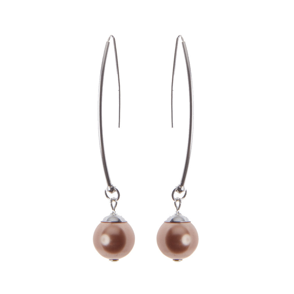 Happy Together Swarovski Rose Gold pearl earrings with sterling silver ear wires