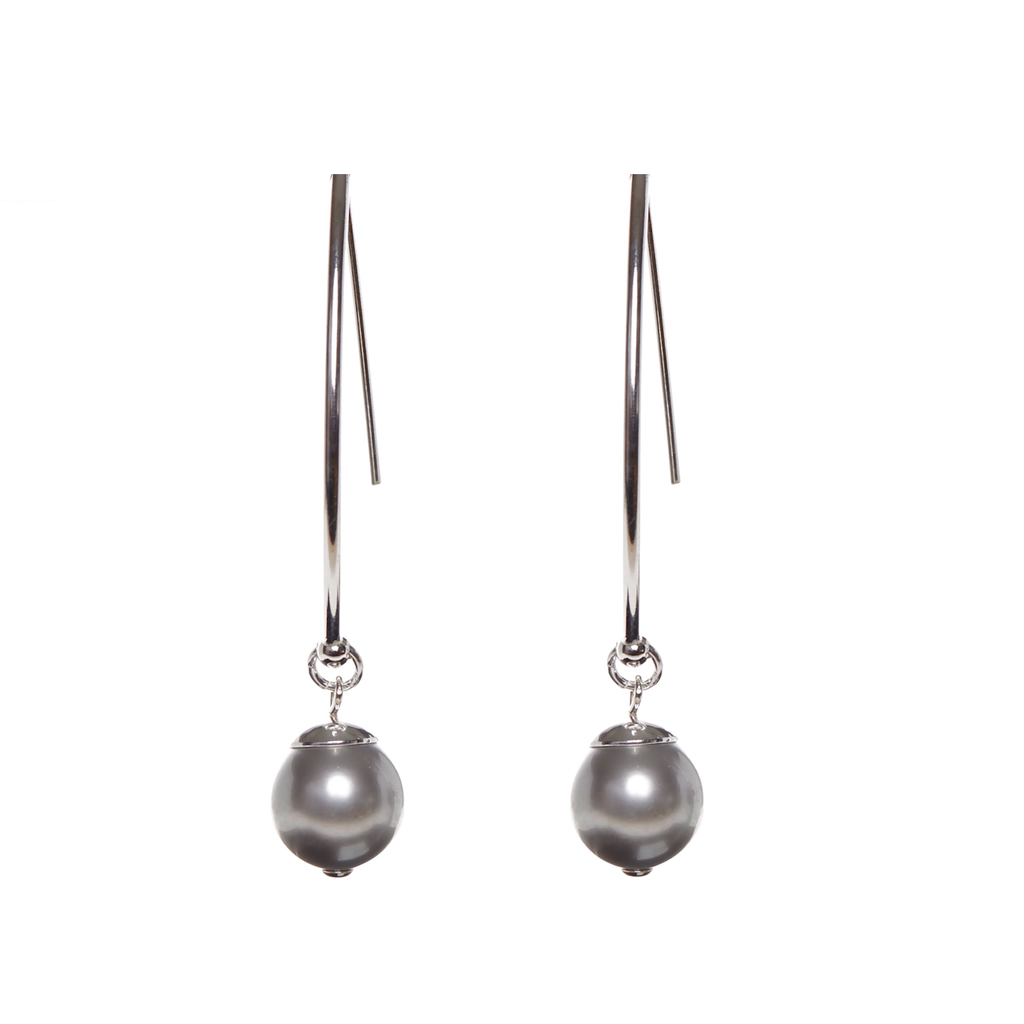 Happy Together Swarovski Silver pearl earrings with sterling silver ear wires