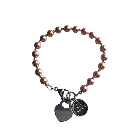 Funky Town Swarovski Rose Gold pearl bracelet with lock heart stainless steel charm