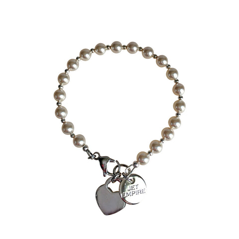 Funky Town Swarovski Cream pearl bracelet with lock heart stainless steel charm