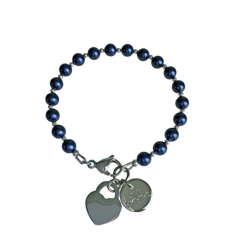 Funky Town Swarovski Night Blue pearl bracelet with lock heart stainless steel charm