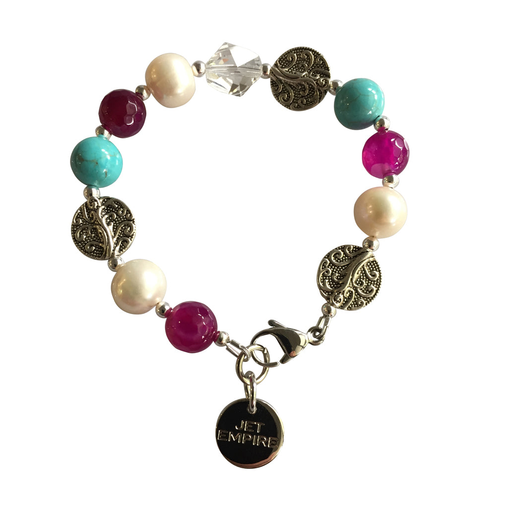 Drift Away bracelet featuring pink agate, freshwater pearls, magnesite, Swarovski crystal