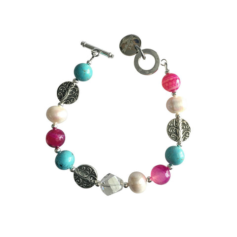Drift Away - Pink and Turquoise - Toggle Clasp