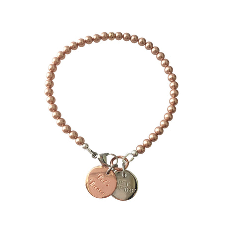 One Dance Swarovski Rose Gold pearl bracelet with 14K rose gold feature bead and Let's Dance charm
