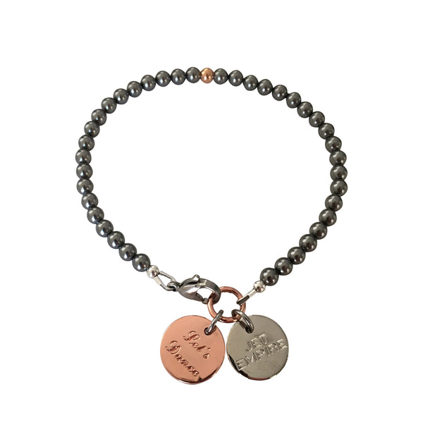 One Dance Swarovski Grey pearl bracelet with 14K rose gold feature bead and Let's Dance charm