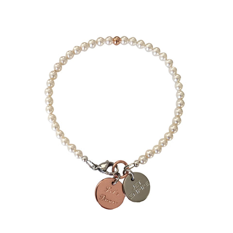 One Dance Swarovski Cream pearl bracelet with 14K rose gold feature bead and Let's Dance charm