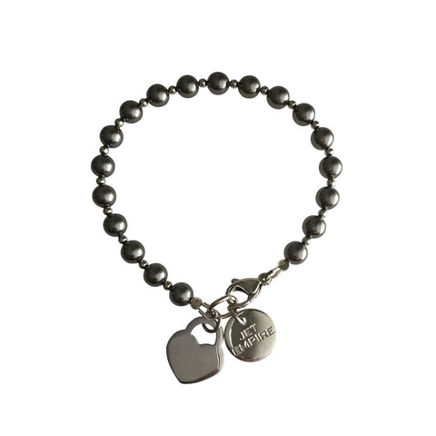 Funky Town Swarovski Grey pearl bracelet with lock heart stainless steel charm