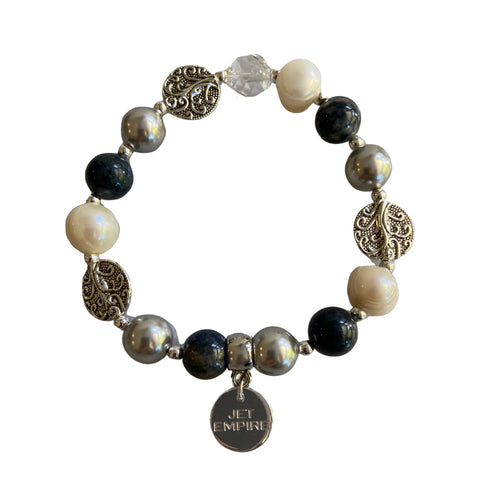 Drift Away elasticated bracelet with dumortierite, freshwater pearls, Swarovski silver pearls, Swarovski crystal