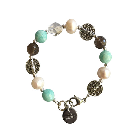 Drift Away bracelet featuring amazonite, freshwater pearls, smoky quartz and Swarovski crystal