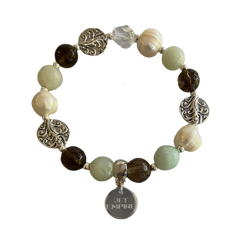 Drift Away elasticated bracelet with amazonite, freshwater pearls, smoky quartz, Swarovski crystal
