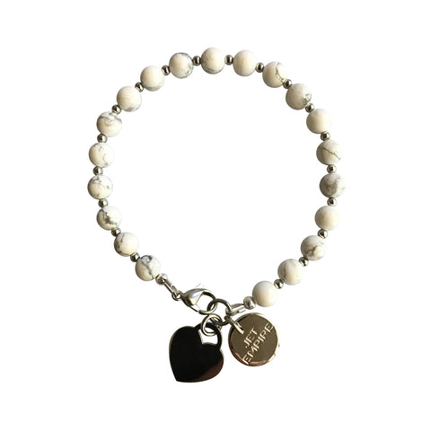 Under Pressure White Howlite bracelet with stainless steel lock heart charm