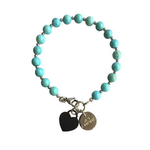 Under Pressure Magnesite bracelet with stainless steel lock heart charm