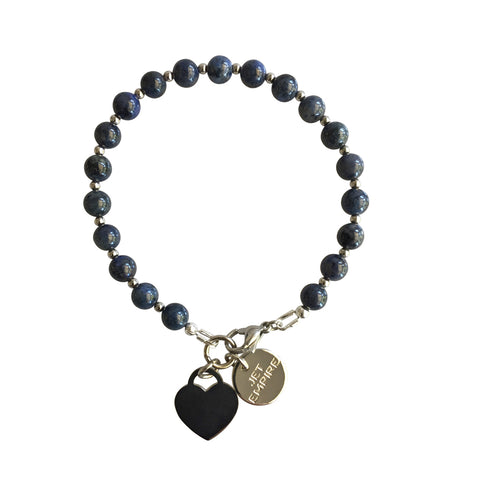 Under Pressure Dumortierite bracelet with stainless steel lock heart charm