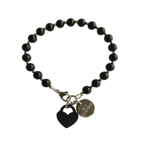 Under Pressure Onyx bracelet with stainless steel lock heart charm