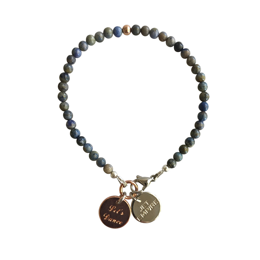 Mountain Sound bracelet featuring Dumortierite and a 14K Rose Gold feature bead and Let's Dance charm
