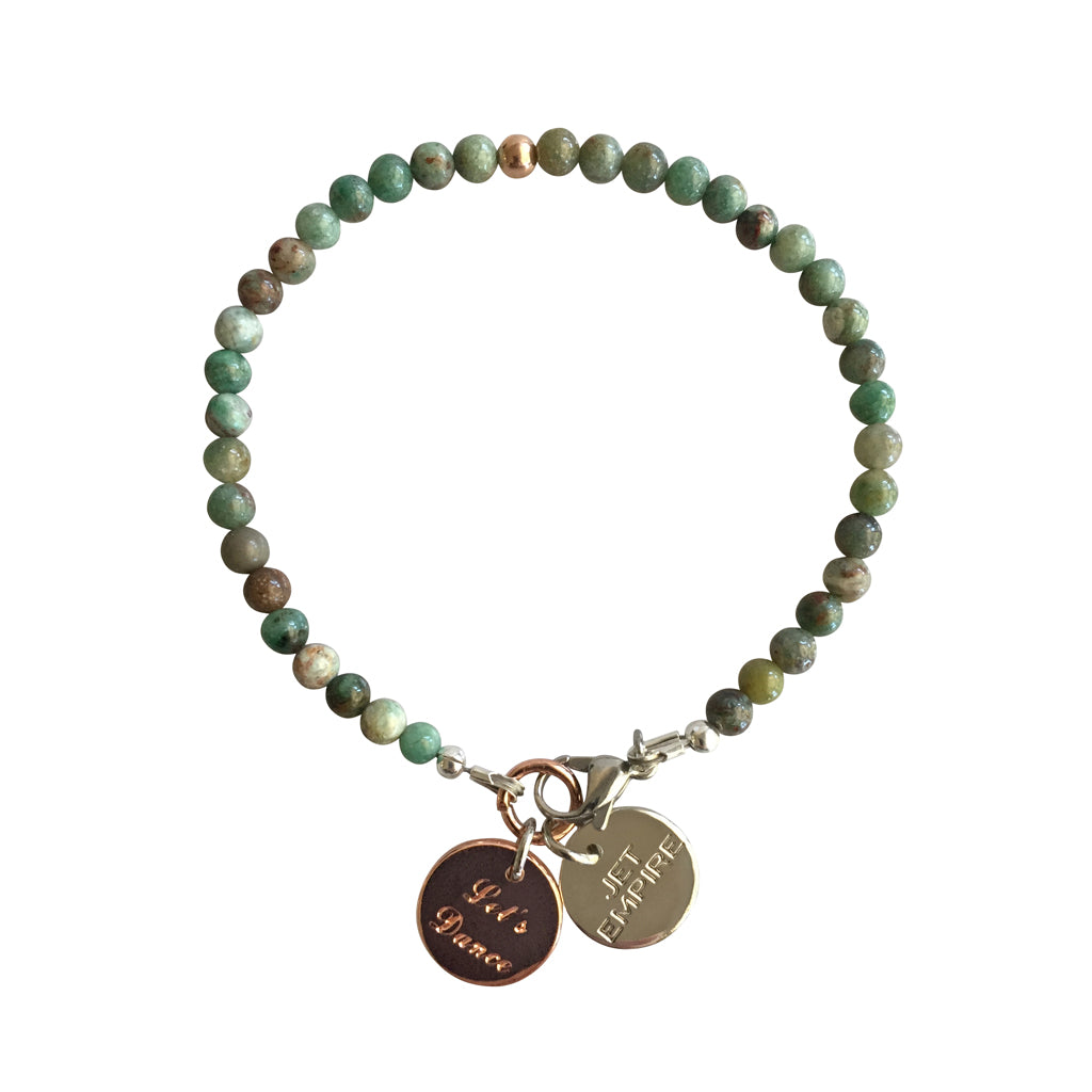 Mountain Sound bracelet featuring African Jade and a 14K Rose Gold feature bead and Let's Dance charm