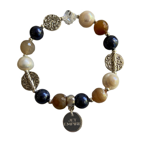 Drift Away elasticated bracelet with agate, freshwater pearls, Swarovski Night Blue pearls, Swarovski crystal