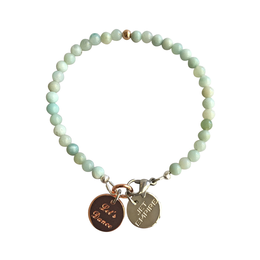 Mountain Sound bracelet featuring Amazonite and a 14K Rose Gold feature bead and Let's Dance charm