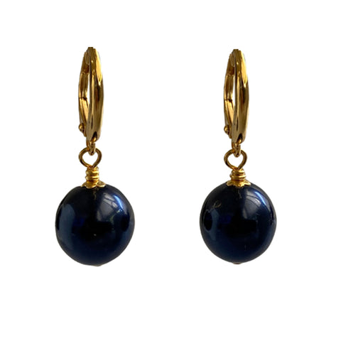 I'm a Believer Swarovski Night Blue pearl earrings with gold-plated sterling silver lever-back ear wires