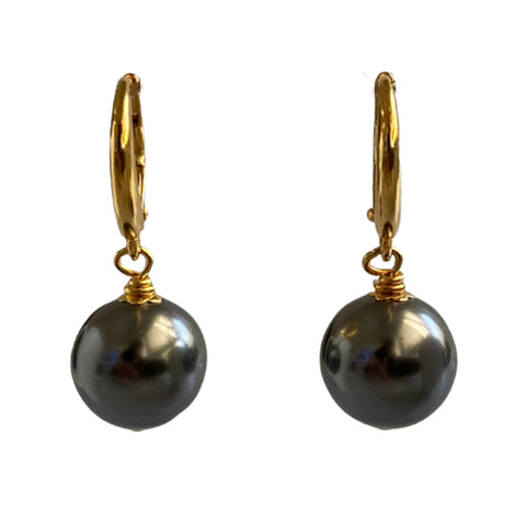 I'm a Believer Swarovski Grey pearl earrings with gold-plated sterling silver lever-back ear wires