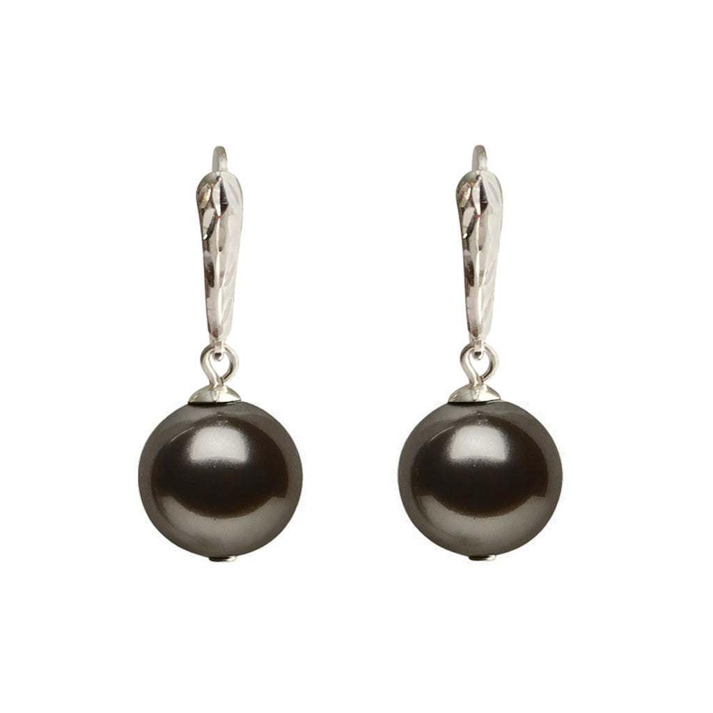 I'm a Believer Swarovski Grey pearl earrings with sterling silver lever-back ear wires