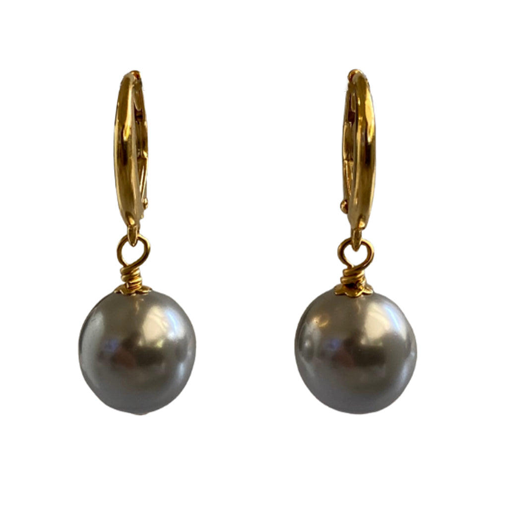 I'm a Believer Swarovski Silver pearl earrings with gold-plated sterling silver lever-back ear wires