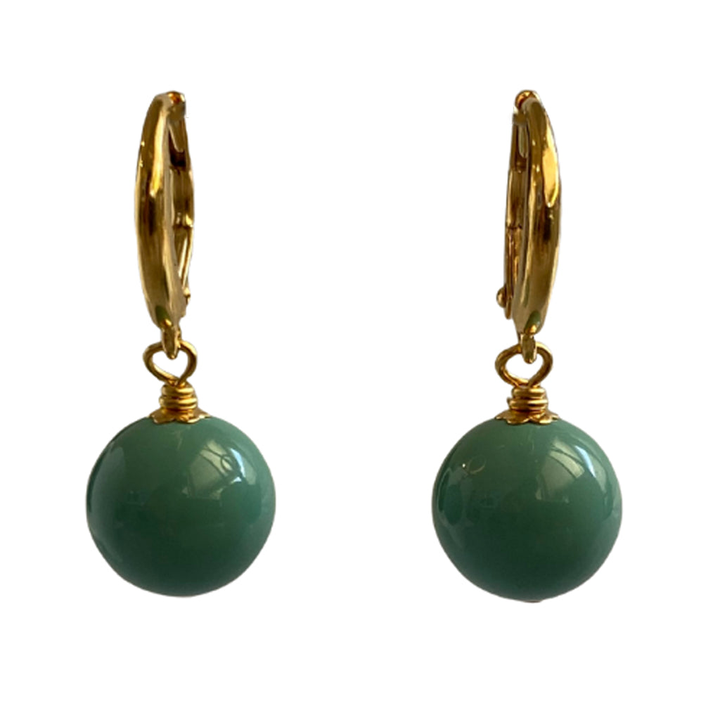 I'm a Believer Swarovski Jade pearl earrings with gold-plated sterling silver lever-back ear wires