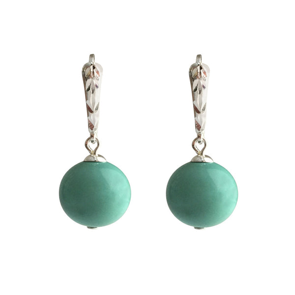I'm a Believer Swarovski Jade pearl earrings with sterling silver lever-back ear wires