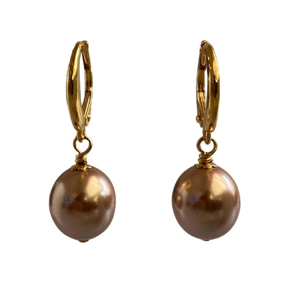 I'm a Believer Swarovski Rose Gold pearl earrings with gold-plated sterling silver lever-back ear wires