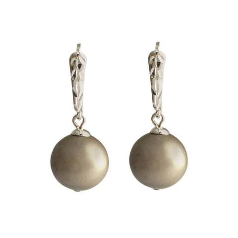 I'm a Believer Swarovski Platinum pearl earrings with sterling silver lever-back ear wires