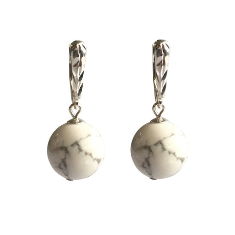 Adore White Howlite earrings with sterling silver ear wires