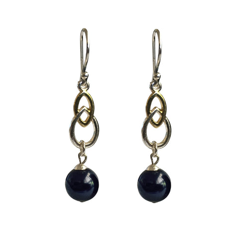 Fool's Gold Swarovski Night Blue pearl two-tone earrings with sterling silver ear wires
